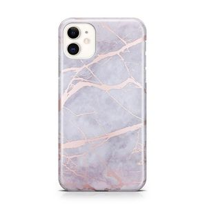 iPhone 11 Lavender Gray Rose Gold Marble Case
